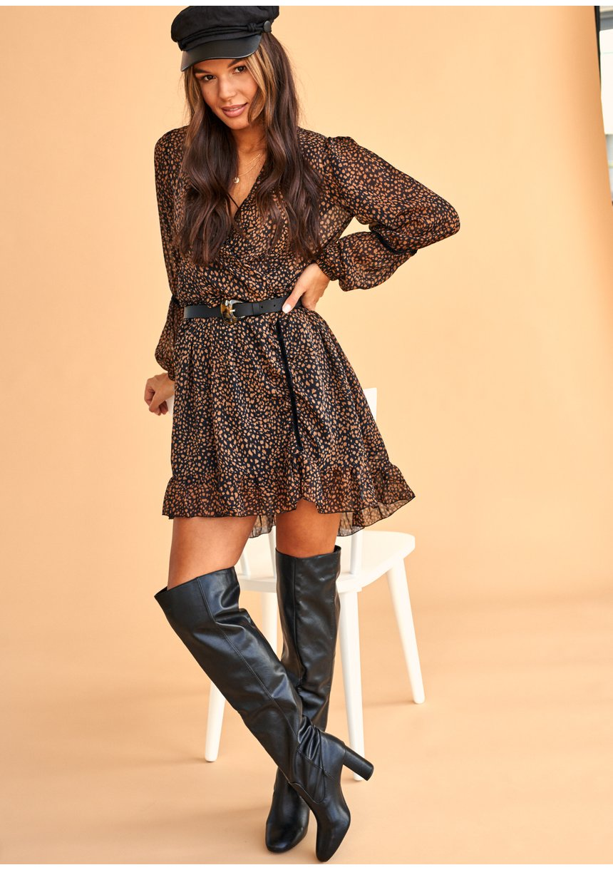 Kopertowa sukienka z szyfony Brown Dots print
