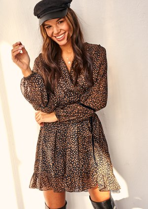 BROWN CHIFFON CROSSOVER DRESS IN DOTS PRINT