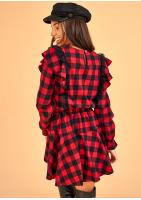 Sukienka w kratkę z falbankami Czerwona
