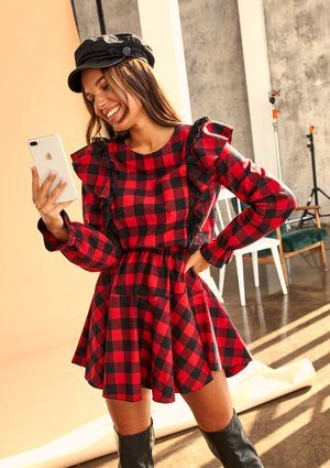 RED CHECK DRESS WITH FRILLS