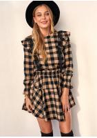 Sukienka w kratkę z falbankami Beżowa