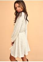 Kopertowa sukienka swetrowa Beżowa