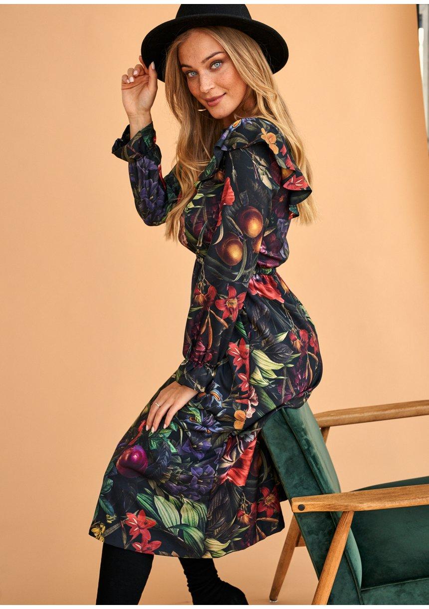 Sukienka midi w Kwiatowy Wzór secret garden