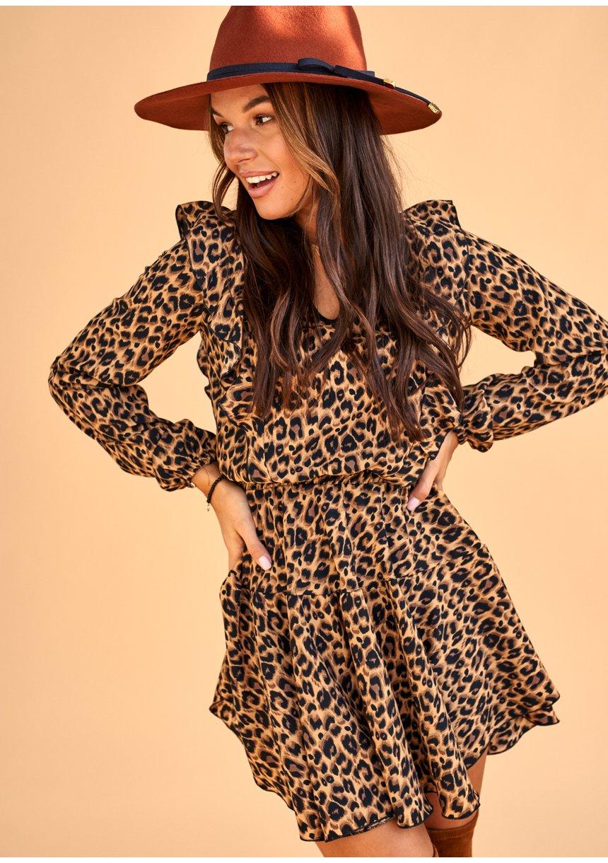 Sukienka Leopard z dekoltem V