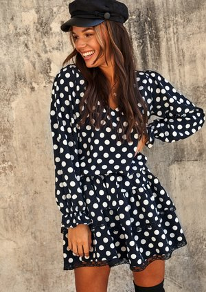 POLKA DOT PRINT DRESS WITH BELT