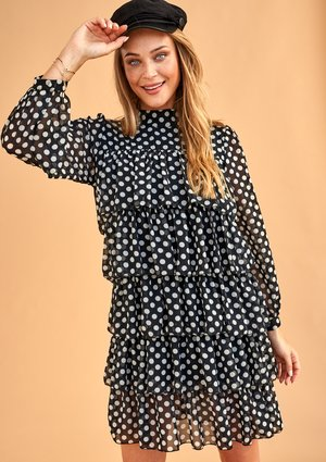 POLKA DOT PRINT CHIFFON DRESS WITH FRILLS
