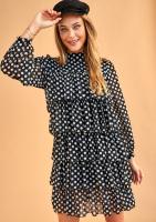 Sukienka z szyfonu frills w Grochy
