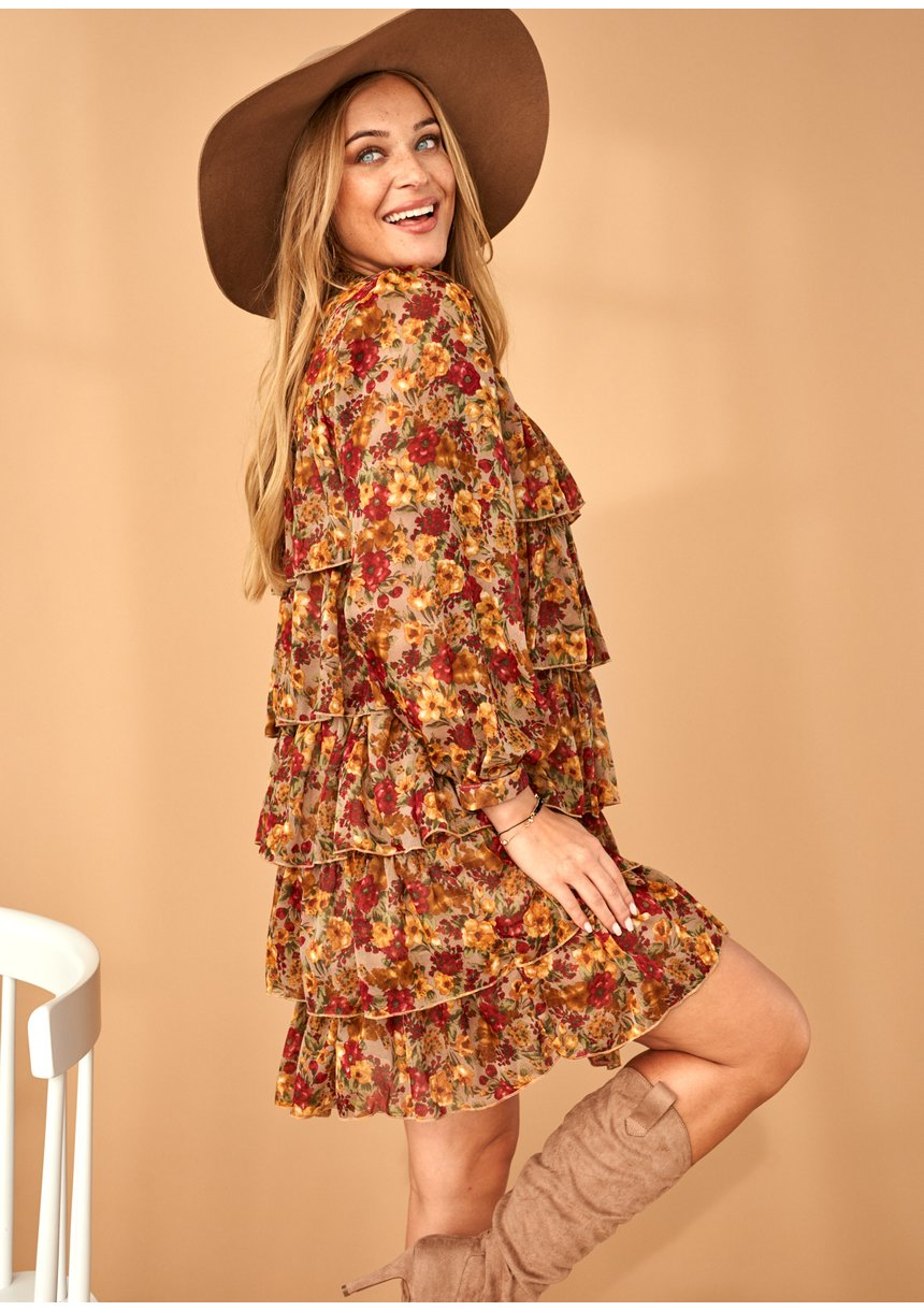Sukienka z szyfonu frills w Kwiaty Miodowa