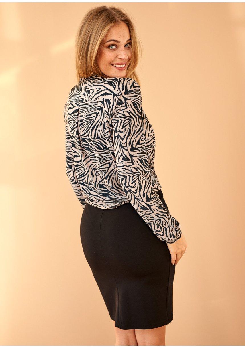 Bluzka z wiskozy Print Beżowa