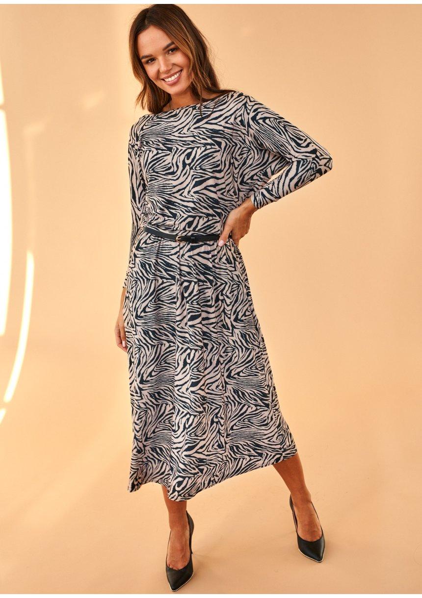 Sukienka midi z wiskozy Print Beżowa