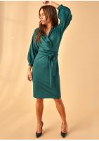 Sukienka z szerokim rękawem 3/4 Zielona