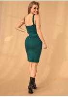 Dopasowana sukienka o średniej długości Zielona