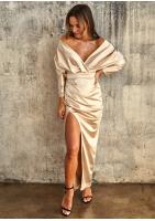 Dopasowana sukienka maxi z satyny Premium Beżowa