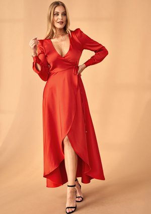 RED WRAP DRESS WITH ASYMMETRIC SKIRT