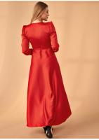 Kopertowa sukienka z asymetrią Premium Czerwona