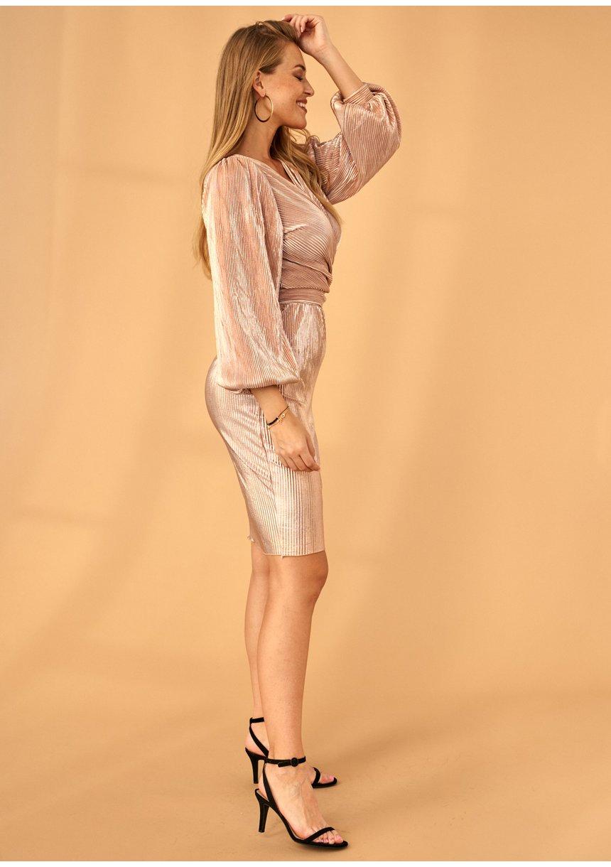 Sukienka plisowana Premium Pudrowa