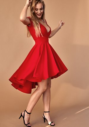 RED ASYMMETRIC SKATER DRESS