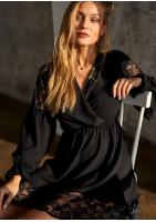 Kopertowa sukienka z koronkowymi detalami Czarna