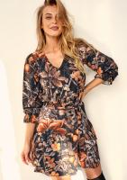 Sukienka z paskiem w Kwiaty