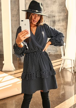 BLACK CROSSOVER DRESS IN WHITE DOTS PRINT