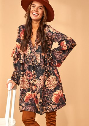 A-LINE FLOWERS PRINT DRESS WITH FRILL