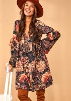 Trapezowa sukienka z falbanką w Kwiaty