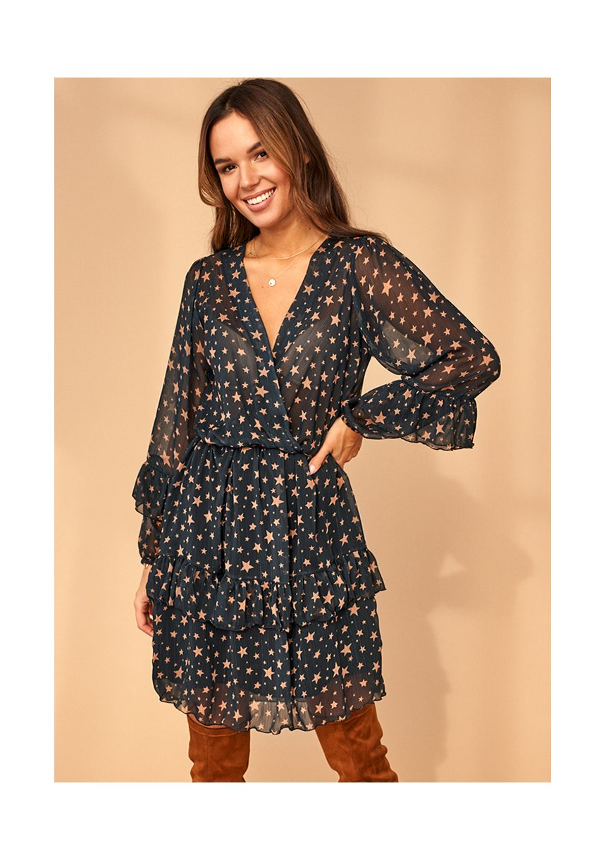 Kopertowa sukienka z szyfonu Stars Czarna