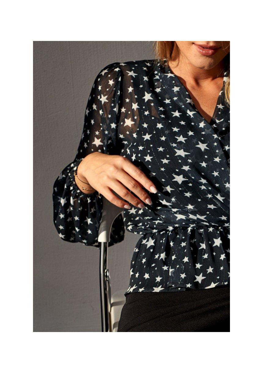 Kopertowa bluzka z szyfonu Stars