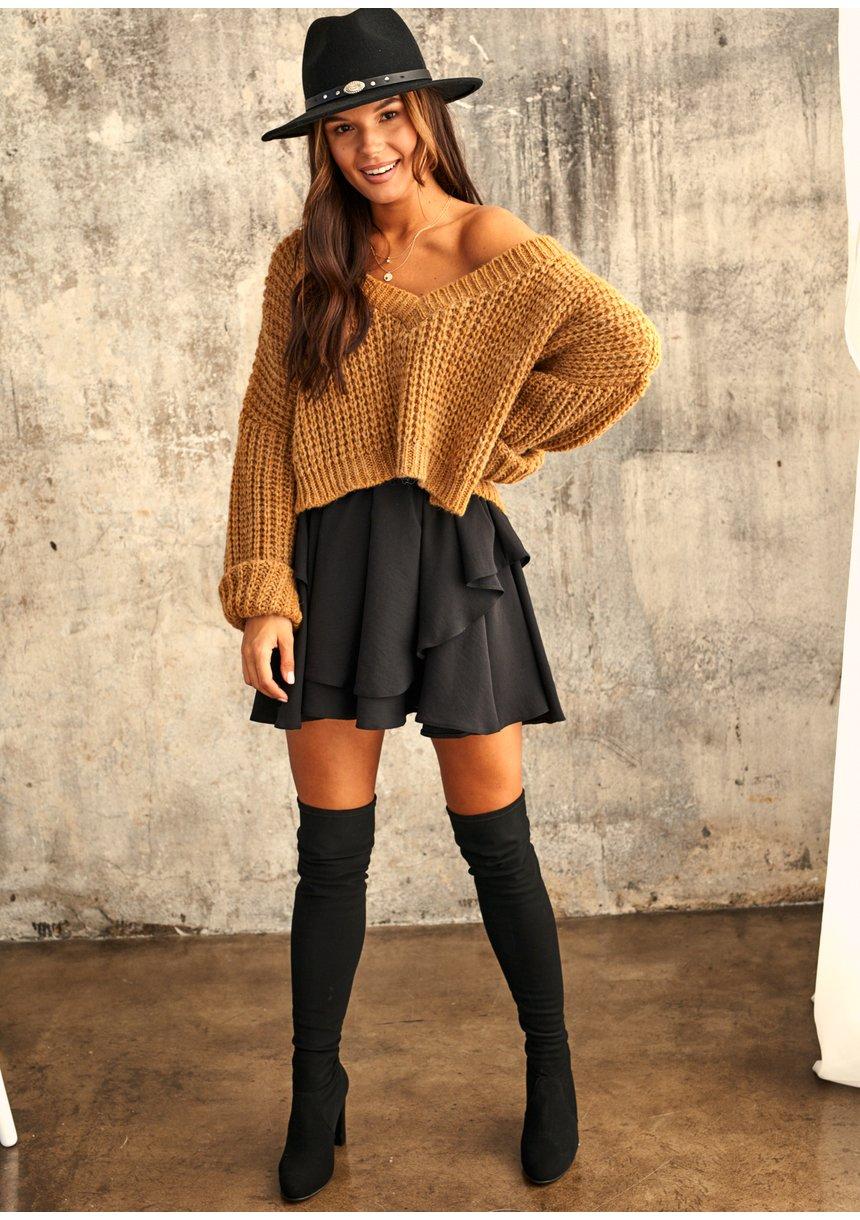 Sweter z moherem dekolt V Miodowy A40 ILM