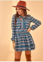 Sukienka z wiązaniem w dekolcie Print