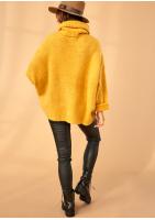 Sweter z golfem oversize A007 Miodowy ILM