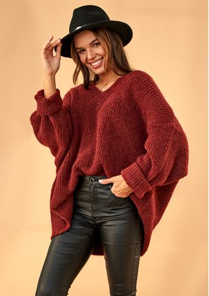 BURGUNDY OVERSIZED V-NECK SWEATER A006 ILM