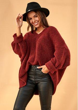 Sweter oversize z dekoltem V A006 Bordowy ILM