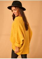 Sweter oversize z dekoltem V A006 Musztardowy ILM Mosquito