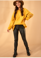 Sweter z rękawem ażurowym A41 Musztardowy ILM