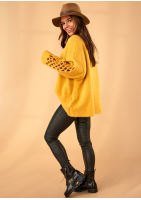 Sweter z rękawem siatka A41