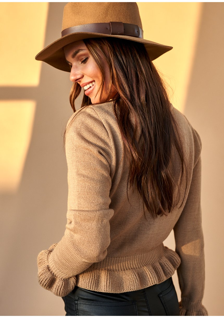Sweter z falbanką Beżowy ILM A42