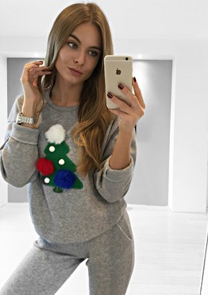 Bluza z aplikacją Christmas Tree SzaraILM