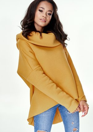 MUSTARD ASYMMETRIC SWEATSHIRT WITH HOOD