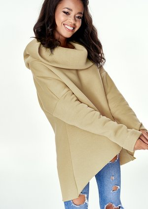 BEIGE ASYMMETRIC SWEATSHIRT WITH HOOD