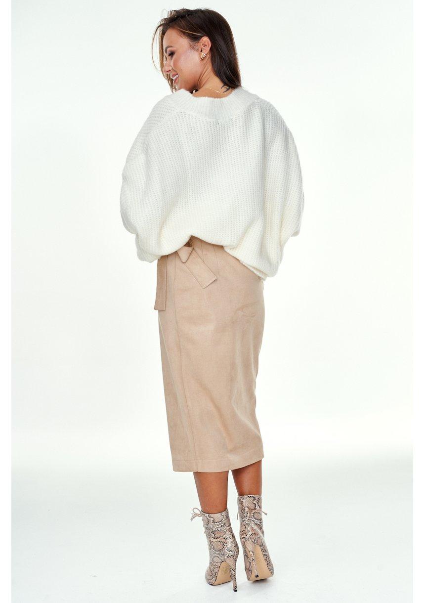 Spódnica midi z tkaniny zamsz Beżowa