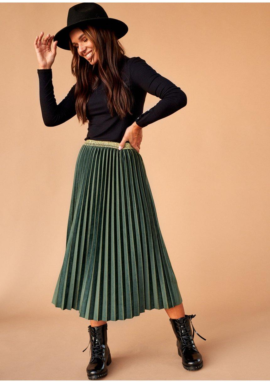 Spódnica plisowana midi Zielona