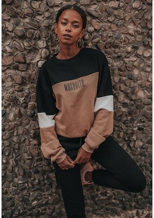 BEIGE COLOR BLOCK MOSQUITO SWEATSHIRT ILM