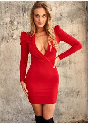 RED DEEP V-NECK DRESS