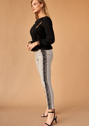 GREY TROUSERS WITH LACE STRIPE