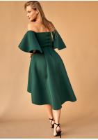 Sukienka midi z neoprenu Zielona