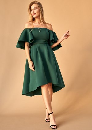 GREEN NEOPRENE MIDI DRESS