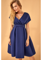 Sukienka z neoprenu w kontrafałdy Granatowa
