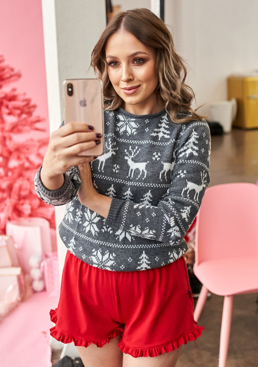 Sweter Winter Time Szary ILM A24