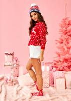 Sweter świąteczny damski 2 jelenie i gwiazdka